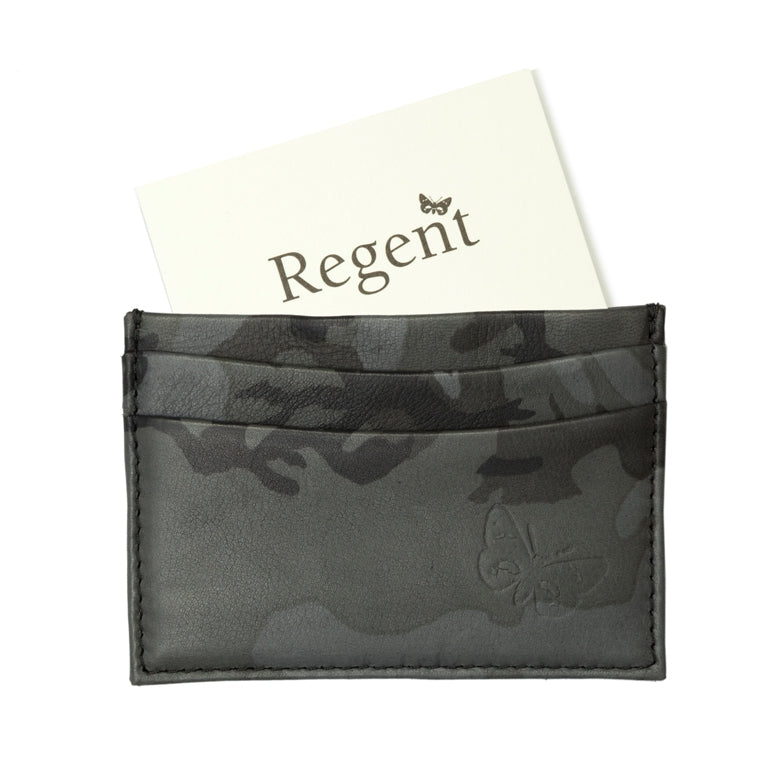 Regent - Camouflage Card Holder - Black/ Grey w/ Tweed Lining - Regent Tailoring