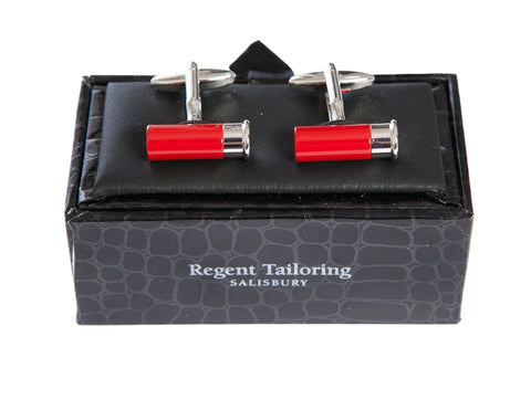 Regent Cufflink - Shotgun Cartridge Red