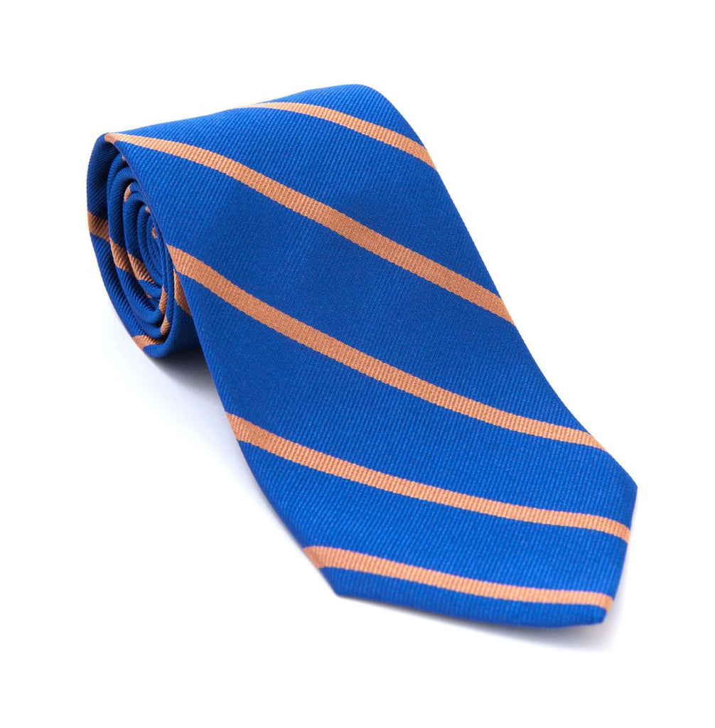 Regent - Woven Silk Tie - Royal Blue with Salmon Stripe