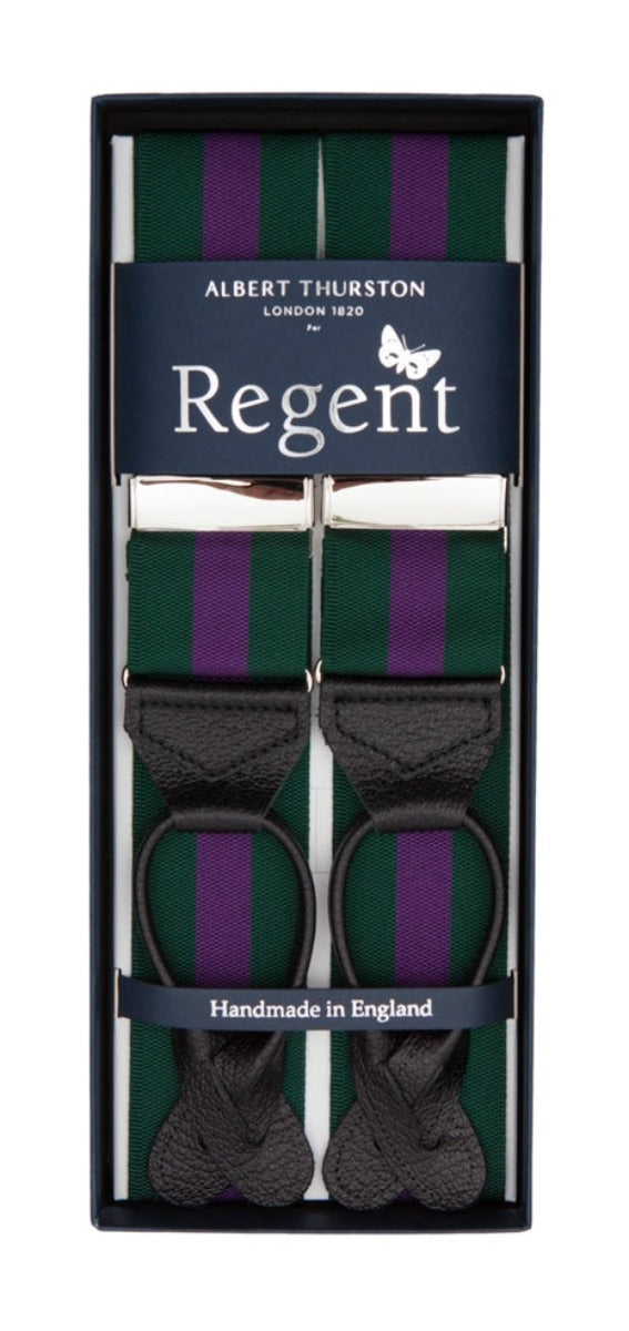 Regent x Albert Thurston - Braces - Racing Green w/ Purple Stripe - Regent Tailoring