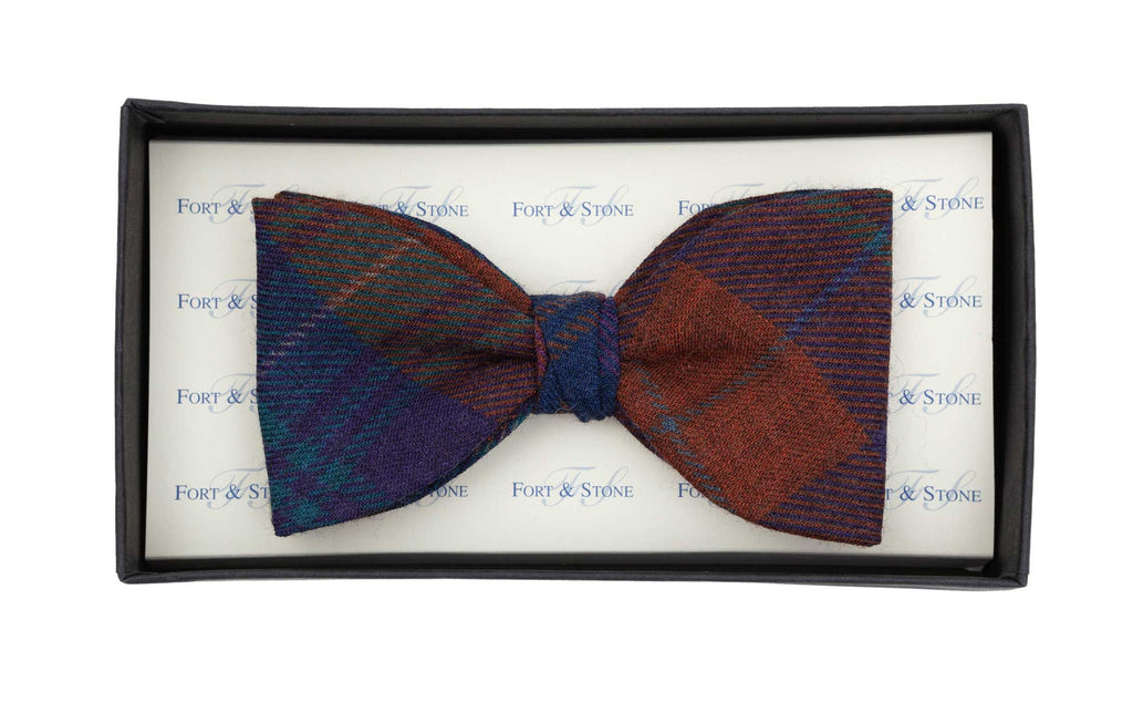 Regent - Fixed Tartan Bow Tie - Blue and Burnt Orange Check - Regent Tailoring