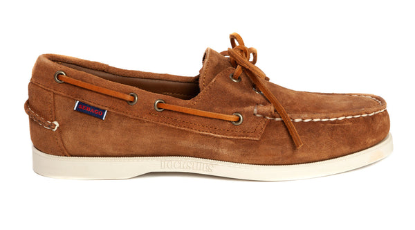Sebago - Dockside Portland Suede Boat Shoe - Brown Cognac