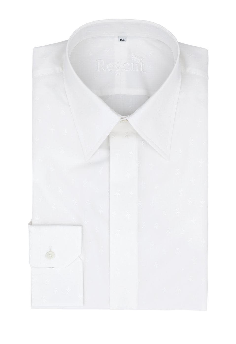 Regent - 100% White Cotton Shirt - White Fleur de Lis - King Collar - Regent Tailoring