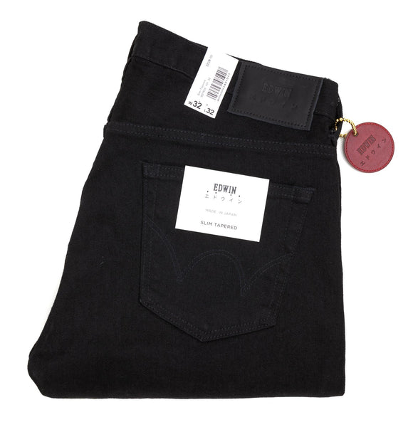 Edwin Slim Tapered Jeans (ED32M-101) - Solid Black Denim - Regent Tailoring