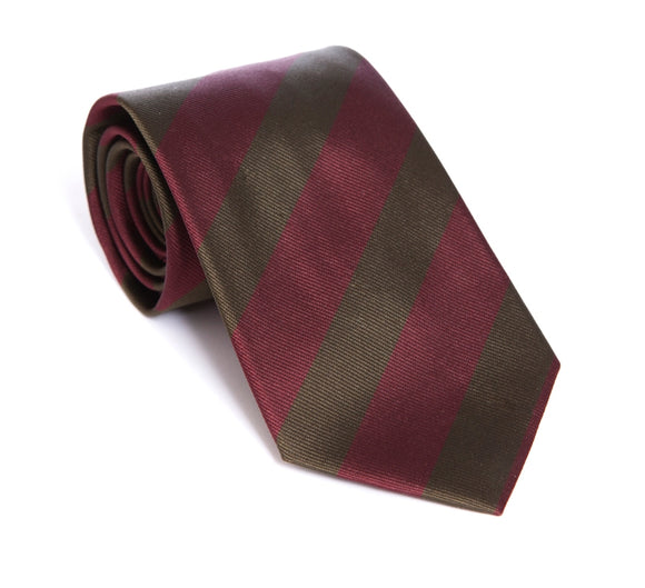 Regent Woven Silk Tie - Olive Green with Burgundy Stripe