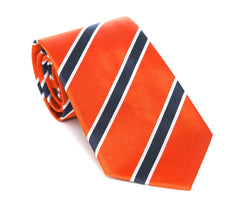 Regent - Woven Silk Tie - Orange with Navy-White Stripe
