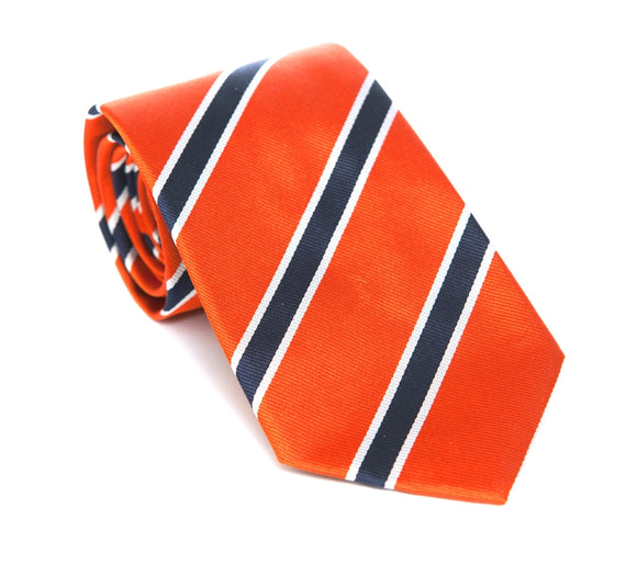 Regent Woven Silk Tie - Orange with Navy-White Stripe - Regent Tailoring