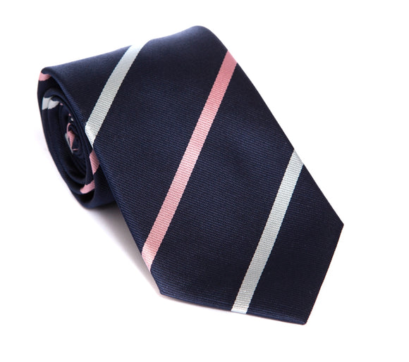 Regent Woven Silk Tie - Navy with Pink and Light Blue-White Stripe