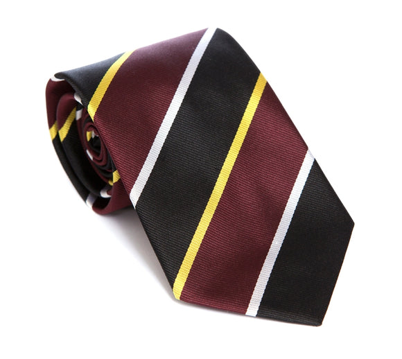 Regent Woven Silk Tie - Burgundy, Black, Gold and White Stripe