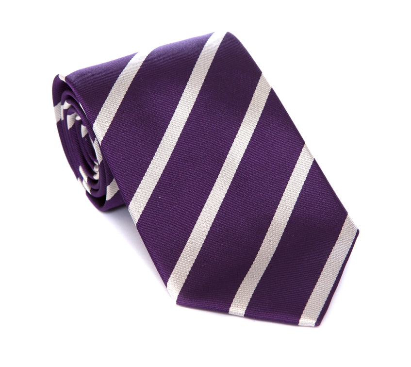Regent - Woven Silk Tie - Purple with Silver Stripe - Regent Tailoring