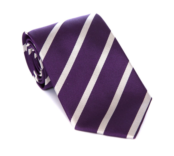 Regent Woven Silk Tie - Purple with Silver Stripe