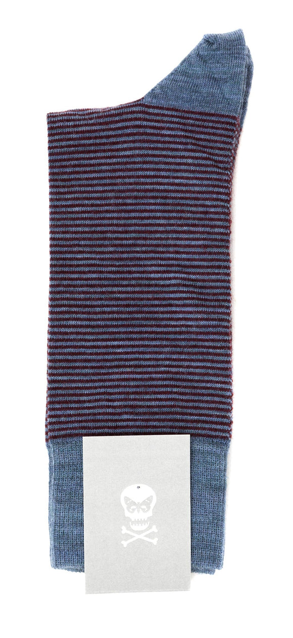Regent Wool Socks - Slate Blue, Burgundy Stripe