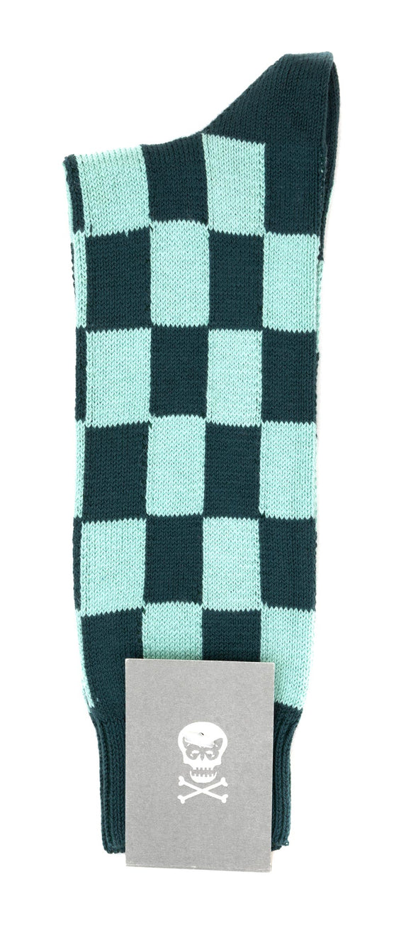 Regent Cotton Socks - Forest Green & Sky Green Tile