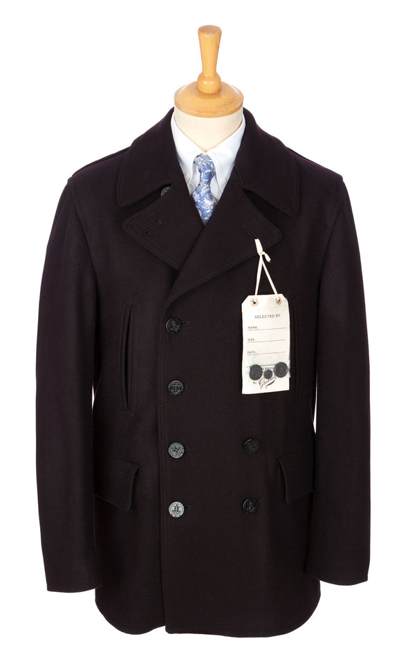Navy English Melton wool Churchill/Reefer-style peacoat overcoat by Gloverall, English-made masters of tradition and style.