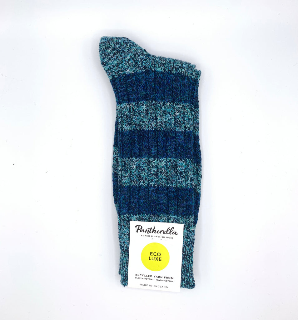 Quality, eco-friendly recycled-yarn UK-made thick socks made with super-warm, super-soft cotton from footwear royalty Pantherella, in a seaside blue with navy stripes.