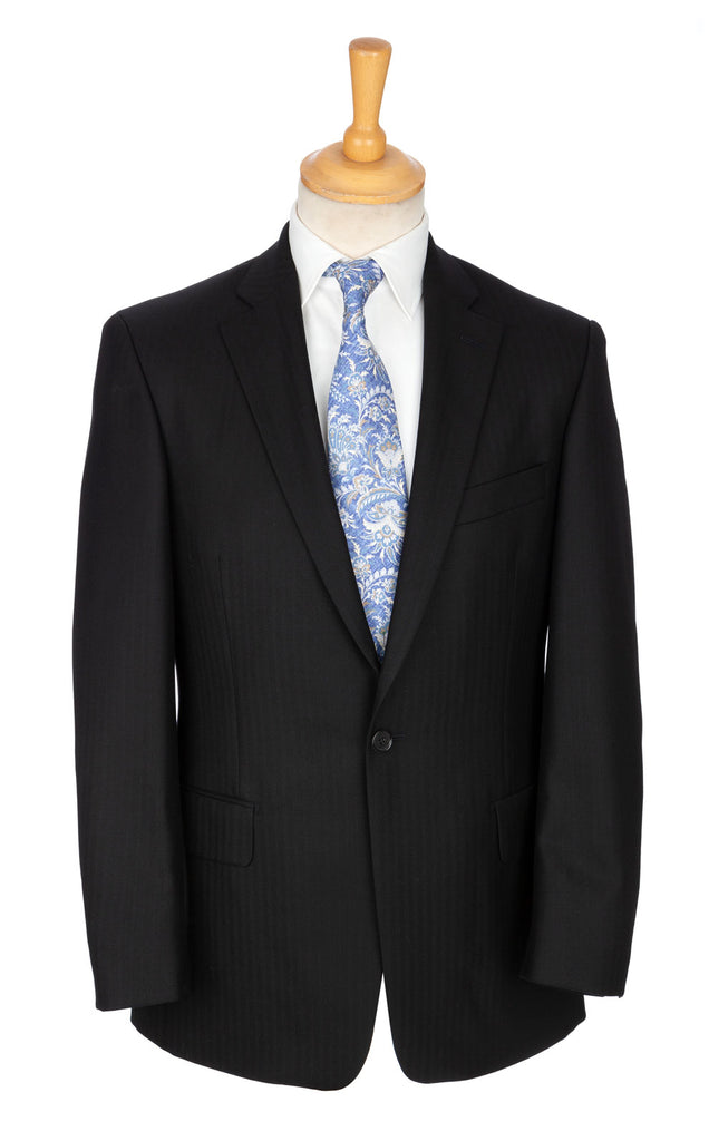 Deep grey herringbone stripe Dinner Jacket-esque luxury wool cloth suit designed exclusively by Regent.