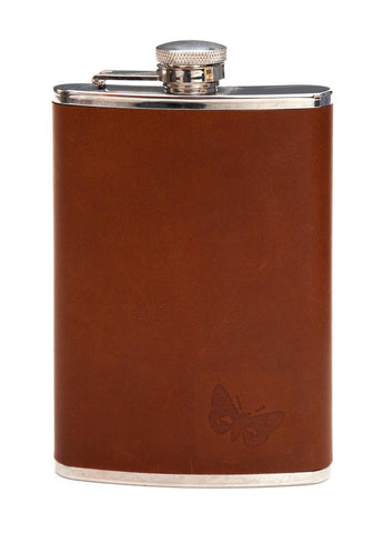 Regent- Hipflask - 8oz - Waxed Leather - Brown