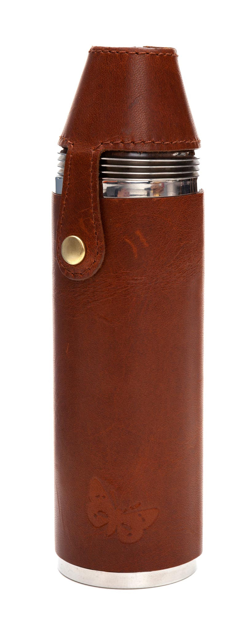 Regent - 10oz  4 Cup Flask - Country Pursuits -  Waxed Leather - Brown - Regent Tailoring