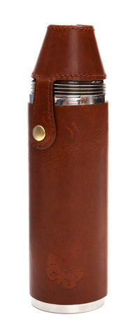 Regent - 10oz  4 Cup Flask - Country Pursuits -  Waxed Leather - Brown