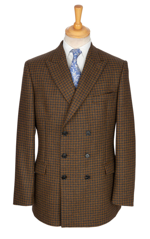 Double-breasted six-button jacket-coat-blazer hybrid made with luxury Scottish wool cloth and designed exclusively by Regent.