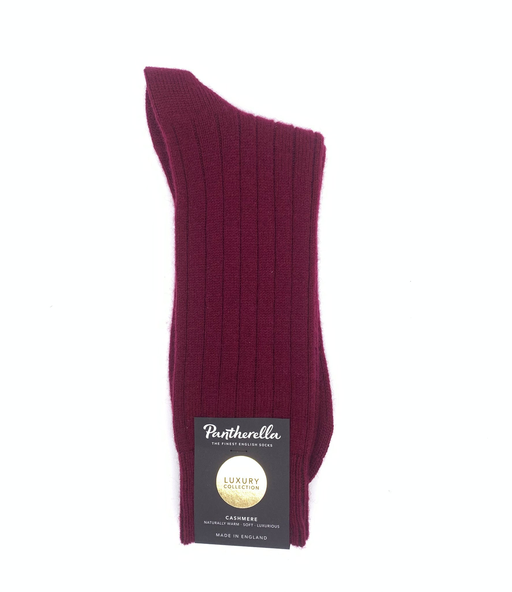 Supreme quality luxurious UK-made socks made with super-warm, super-soft highest quality cashmere from footwear royalty Pantherella, in a port red colour.