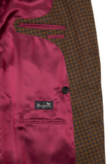 Regent - 'Martyn' - Double Breasted Jacket/Coat - Lear Browne & Dunsford Wool - Blue & Brown Check