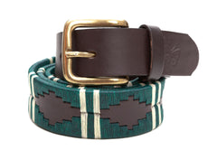 Regent - Polo Belt - Embroidered - Leather - Green