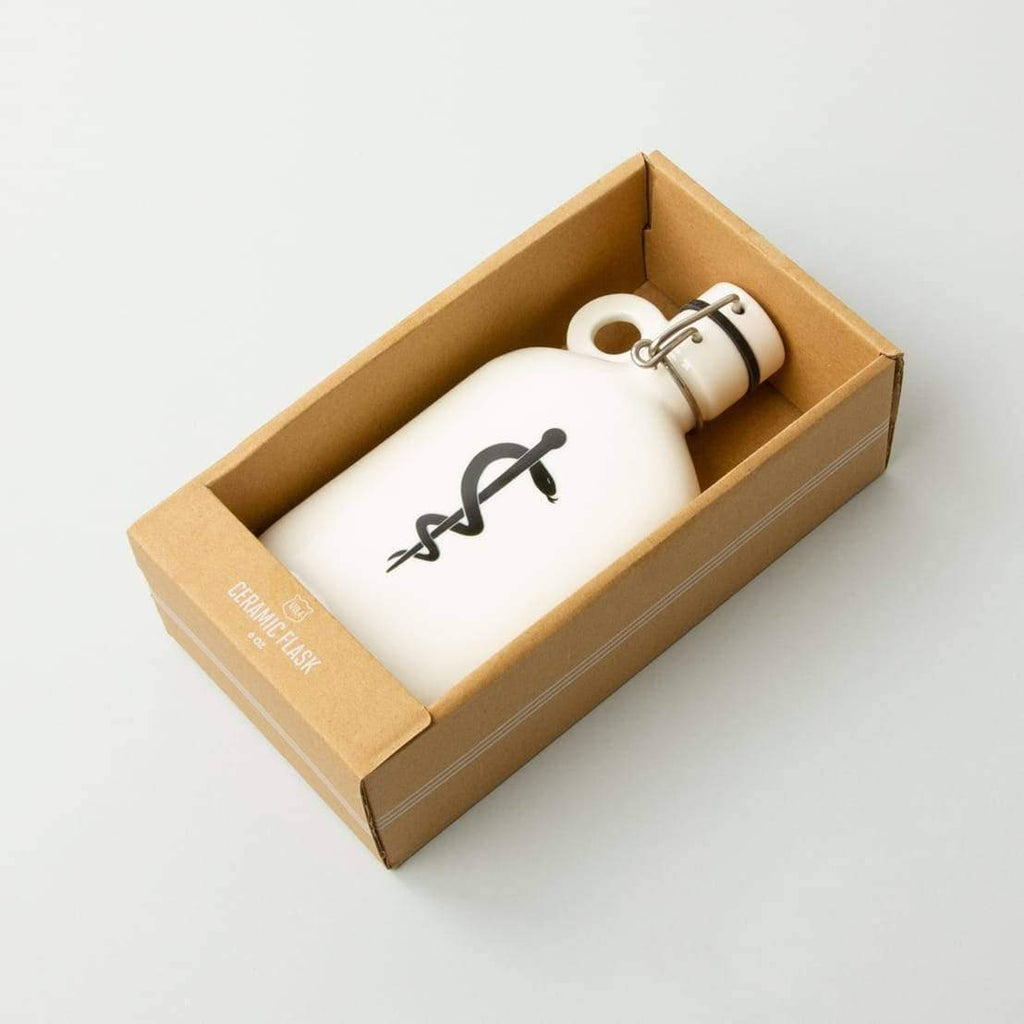 Ceramic flask with secure flask to serve as water bottle or hip flask from innovative lifestyle brand Izola.
