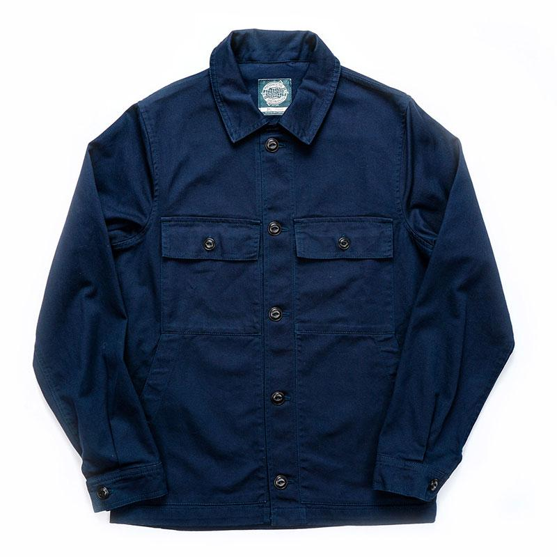 Navy workwear-style fisherman's jacket from independent UK brand Yarmouth Oilskins, featuring cotton composition, chest pockets and deep back yoke for ease of movement.