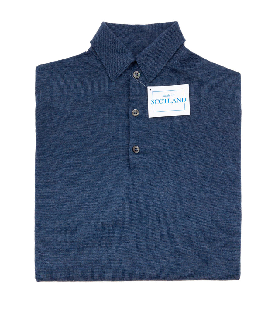 Regent - Polo Shirt- Long Sleeve - Extra Fine Merino Wool  – Powder Blue - Regent Tailoring