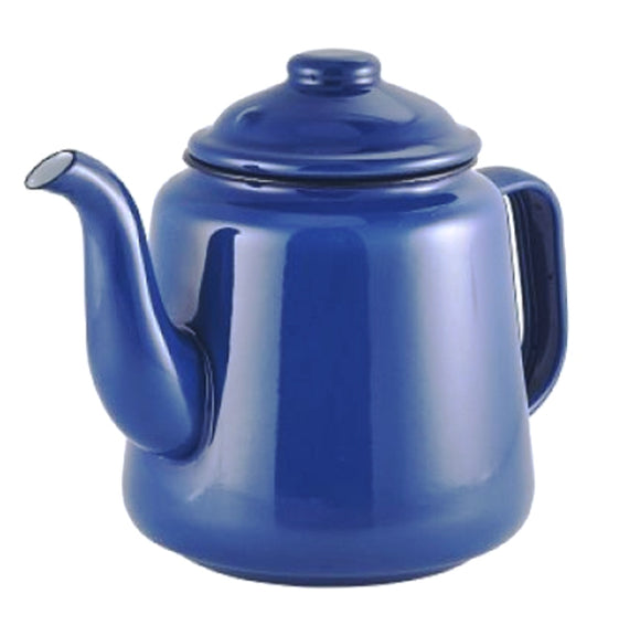 Blue enamelware teapot from original enamelware brand Falcon, with two-mug (1000ml) capacity) and oven, dishwasher, freezer, electric and gas hob friendly.