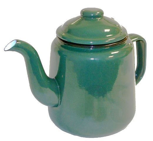 Green enamelware teapot from original enamelware brand Falcon, with two-mug (1000ml) capacity) and oven, dishwasher, freezer, electric and gas hob friendly.