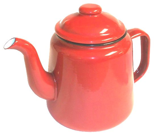Red enamelware teapot from original enamelware brand Falcon, with two-mug (1000ml) capacity) and oven, dishwasher, freezer, electric and gas hob friendly.