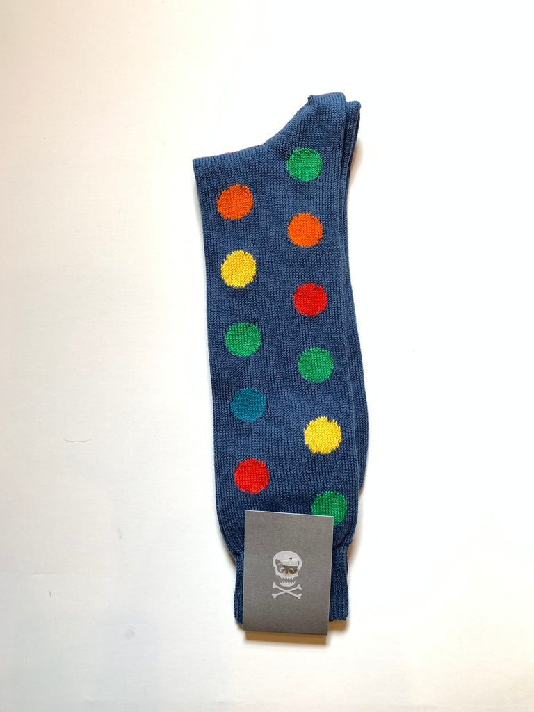 Pale navy/dusk blue socks with cotton and acrylic composition, featuring multi-coloured spots in a playful pattern, designed and made exclusively by Regent.