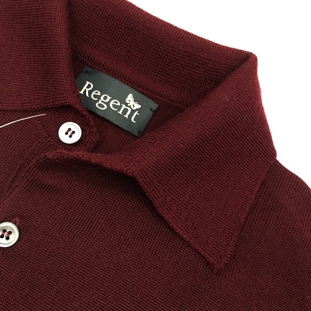 Extra-fine merino wool long-sleeve polo jumper made in Scotland and designed exclusively for Regent.