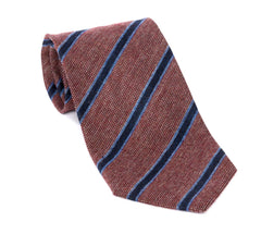 Regent - Woven Silk Tie - Textured Red and Fine Blue Stripe
