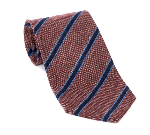 Regent Woven Silk Tie - Textured Red and Fine Blue Stripe - Regent Tailoring