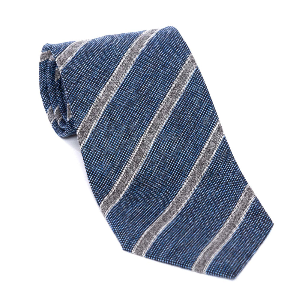 Regent - Woven Silk Tie - Textured Blue and Fine Grey Stripe - Regent Tailoring