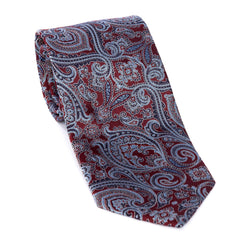 Regent - Woven Silk Tie - Burgundy With Blue Paisley