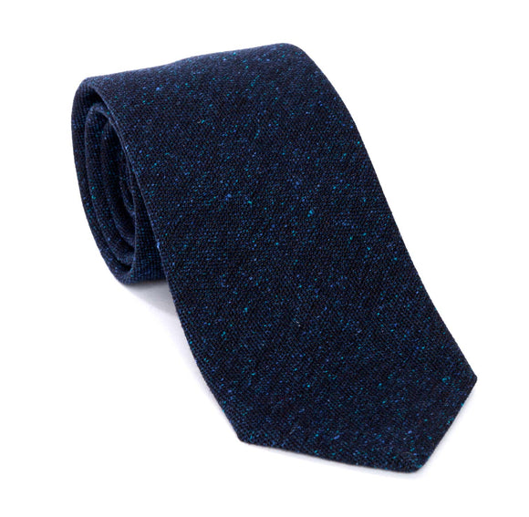 Regent Woven Silk Tie - Blue With Pale Blue Flecks - Regent Tailoring