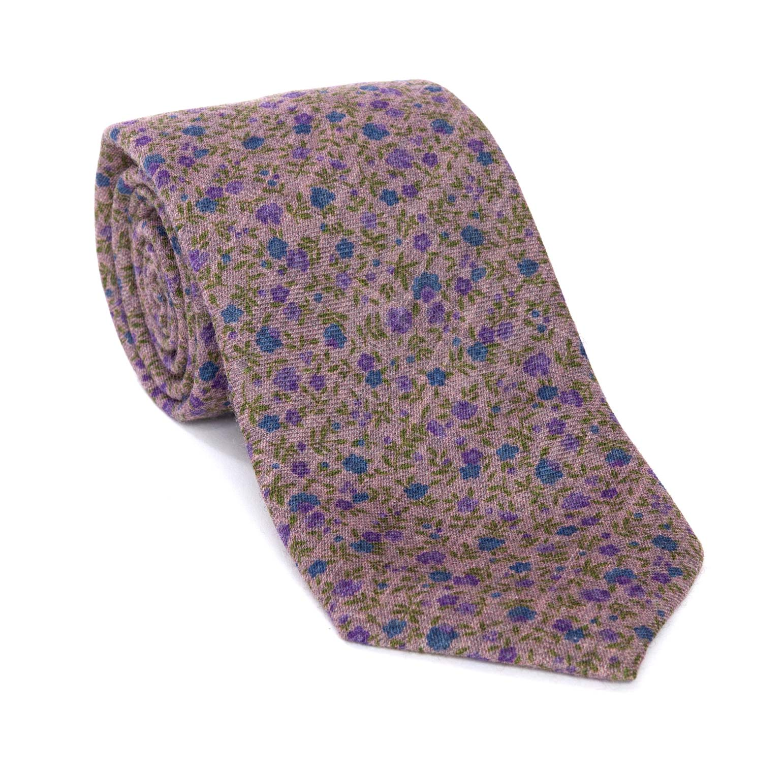 Regent Woven Silk Tie - Lilac With Floral Design