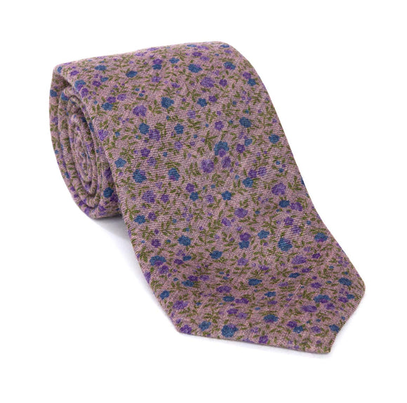 Regent - Woven Silk Tie - Lilac With Floral Design - Regent Tailoring