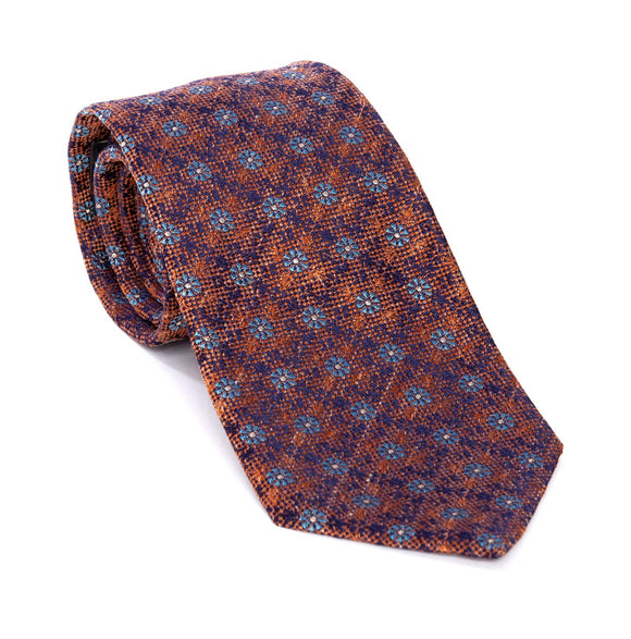 Regent Woven Silk Tie - Dark Orange With Blue Flowers - Regent Tailoring