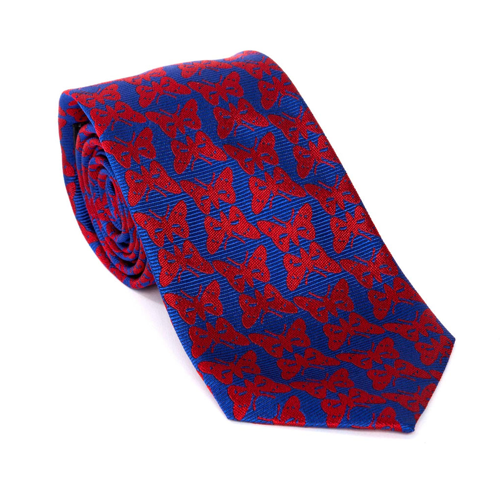 Regent - Woven Silk Tie - Blue With Red Regent Butterfly - Regent Tailoring