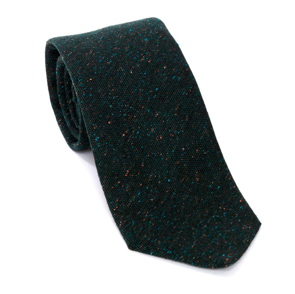 Regent Woven Silk Tie - Dark Green With Pale Green Flecks - Regent Tailoring