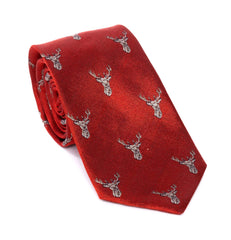 Regent - Woven Silk Tie - Red Tie With Stag Head Pattern