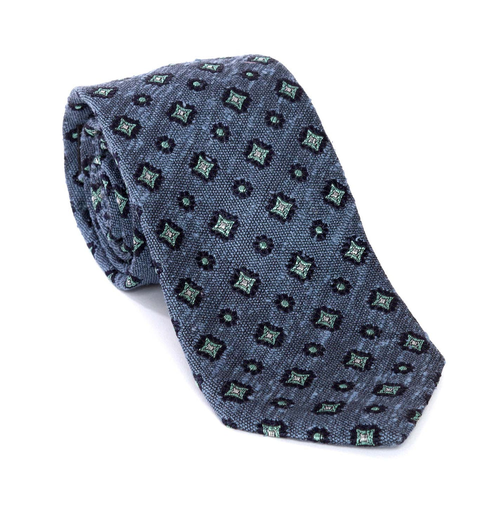 Regent - Woven Silk Tie - Textured Navy and Sky Blue Flowers/Diamond - Regent Tailoring