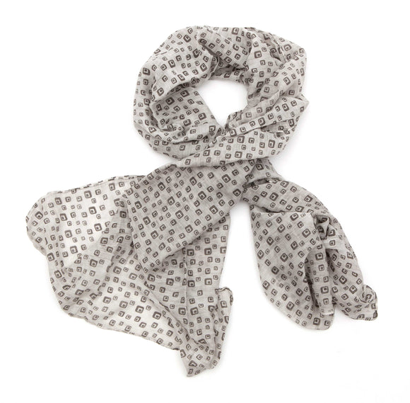 Regent - Scarf - Cotton/Silk - Light Grey - Cubes and Squares - Regent Tailoring
