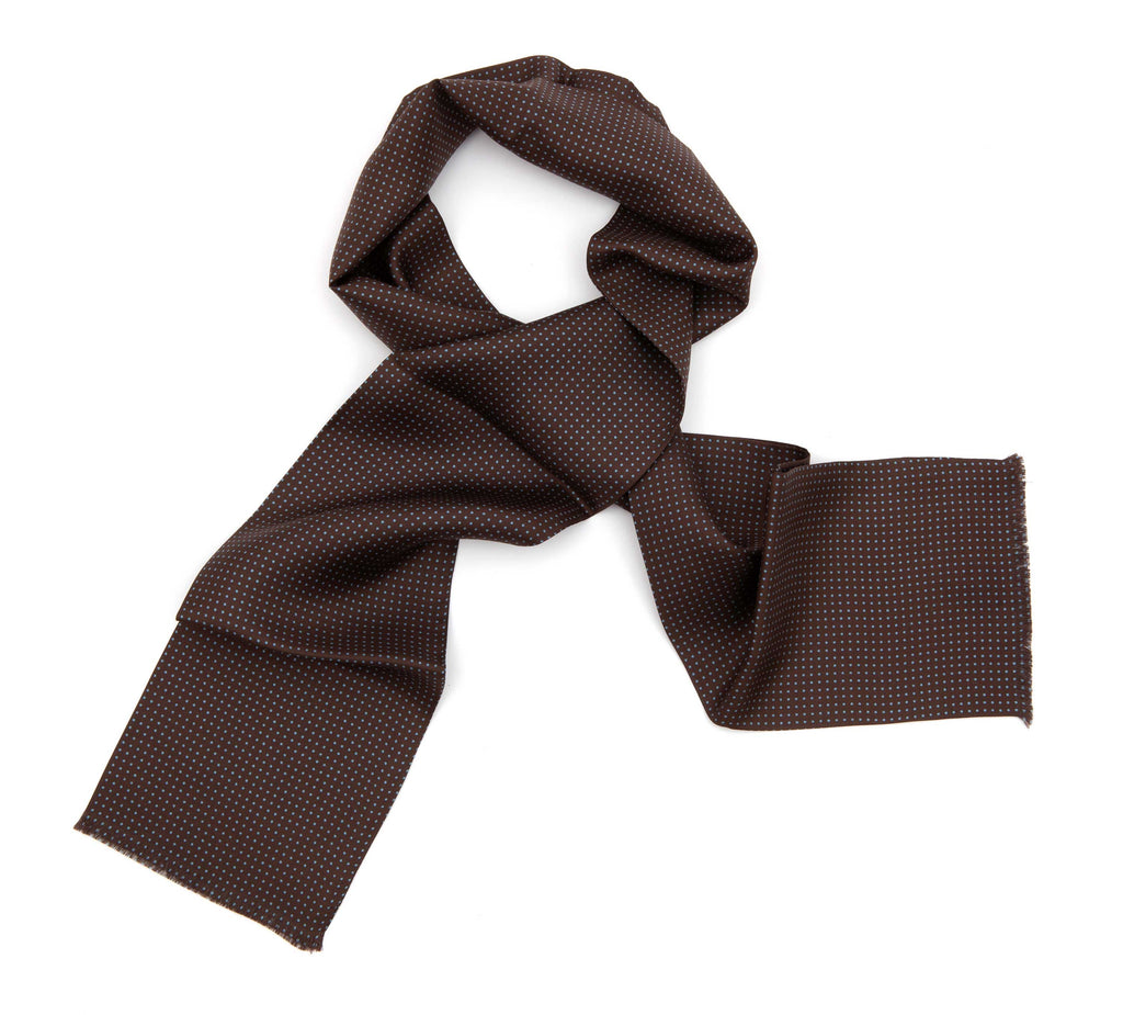 Regent Tootal Silk Scarf - Brown with Blue Spots - Regent Tailoring