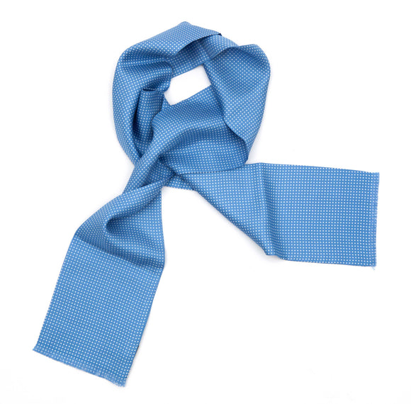 Regent Tootal Silk Scarf - Blue with White Spots - Regent Tailoring